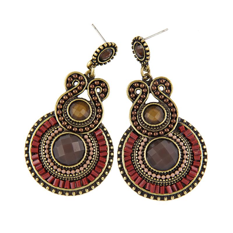 Vintage Ethnic Geometric Alloy Resin Simple Drop Dangle Earrings Women Exaggerated Retro Fashion Wedding Bohemian Jewelry - Pretty Girls factory store