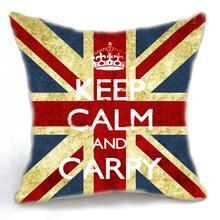 Retro Vintage UK Flag Cotton Linen Pillow Case Cushion Cover