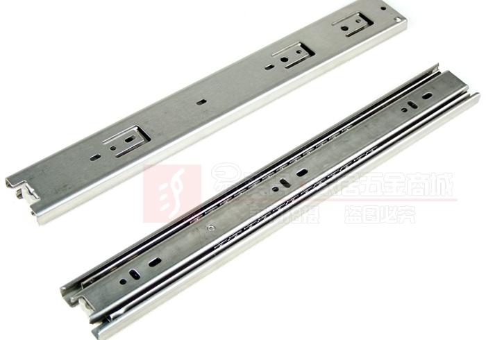 Thick stainless steel kitchen cabinets quiet ball bearing drawer slides three rail drawer slide rails 20-inch(China (Mainland))