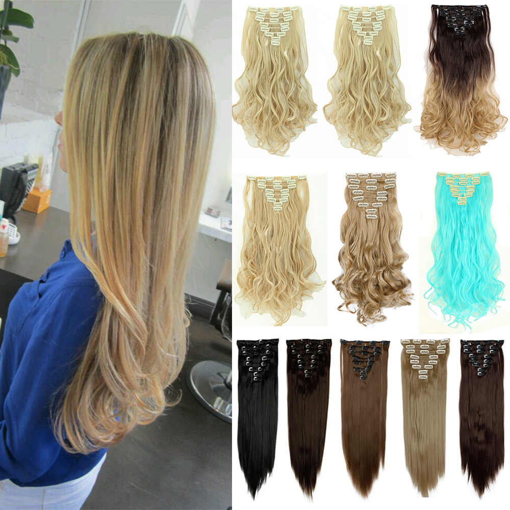 "24"" 26"" 8PCS Full Head Hair Extensions Blonde Black Brown Omer Dip Dye Hair Piece 7+1 pcs Hairpiece 100% Natural Synthetic Hair(China (Mainland))"