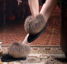 Natural Big Fox Fur Women's Winter Snow Boots Top Quality Cotton Boots Winter Cow Muscle Round Toe 100% Genuine Leather Boots(China (Mainland))