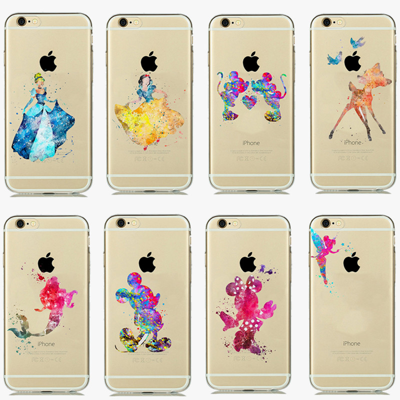 Cartoon Princess Mickey Minnie Transparent Soft Silicone Rubber Cover For Apple Iphone 6 6s 4.7 Phone Case(China (Mainland))
