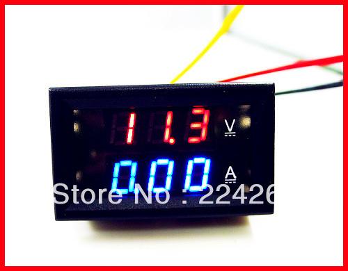 10pcs/lot, YB27VA 0.28 Red/Blue LED Dual Color 2-in-1 Volt/Amp Meter Digital Ampere meter,Voltmeter Ammeter<br><br>Aliexpress