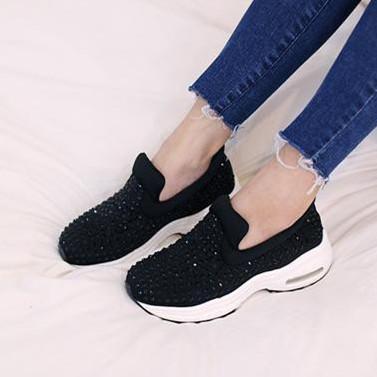 Высокое качество 2016 весенние спортивная обувь женщин туфли на платформе мода горный хрусталь обувь женские удобный валик кроссовки