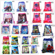 Snow Queen Despicable Me Minions TMNT Sofia Children Cartoon Drawstring Bag Backpacks Kids School Bags Mochila Infantil For Gift(China (Mainland))
