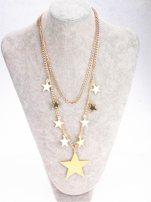 Fashion Metal Double Chain Gold Star Pendant Necklace Night Club Punk Jewelry Accessories(China (Mainland))