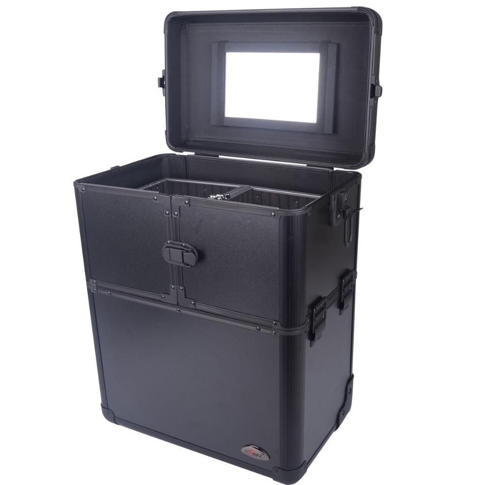 Big Capacity Multi Layer Professional Cosmetics Trolley Black Cosmetics Aluminum Makeup Box 3622 ...