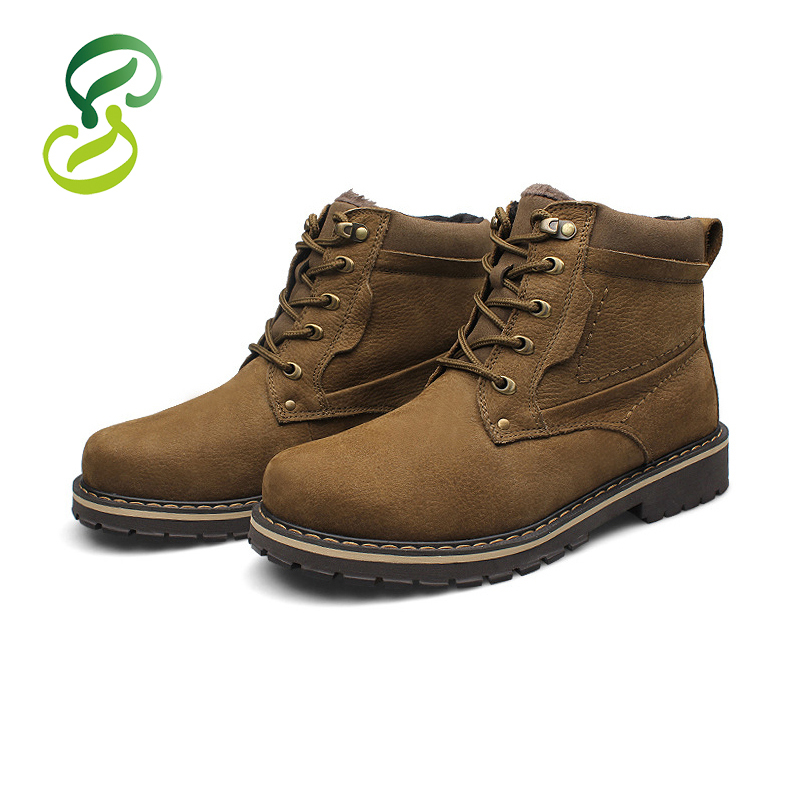 2015 Genuine Leather Shoes Mens Plus Size 37-50 Ankle Boots Winter Fur Warm Snow Boots Waterproof Martin Shoes Botas Masculina