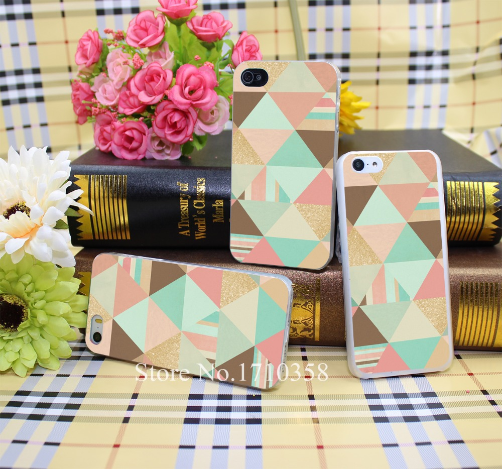 1486279N peach mint and gold tri hellip Style Hard Transparent Phone Cases Cover for iPhone 5 5s 4 4s 6 plus 5c Clear(China (Mainland))