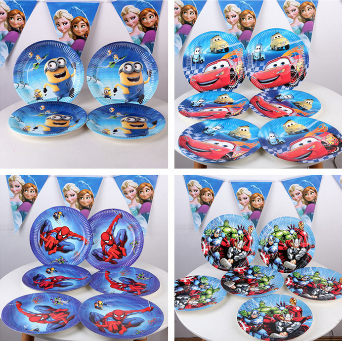 10pcs/lot Kid Boys Party Theme 9inch Cartoon Cars spiderman Paper Plate Cake Dishes Kids Birthday party Decoration GYH(China (Mainland))