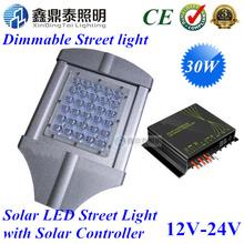 LED Street Light 12V 24V 30W Lamp with Intelligent PWM digital-dimming Solar Controller for Solar Energy Street Lighting System(China (Mainland))