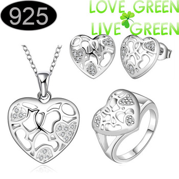 floating wholesale silver plated fashion pendant jewelry necklace earring ring set multi hollow out heart jewelry free shipping