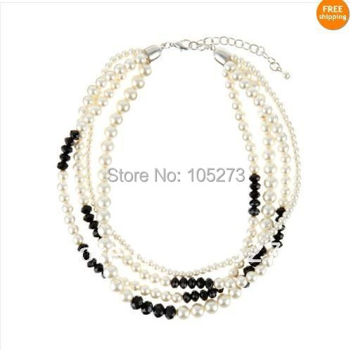 wholesale!4rows pearl necklace 18inchs AA 4-9MM White color Freshwater pearl + black crystal beads jewelry Free shipping FN08<br><br>Aliexpress