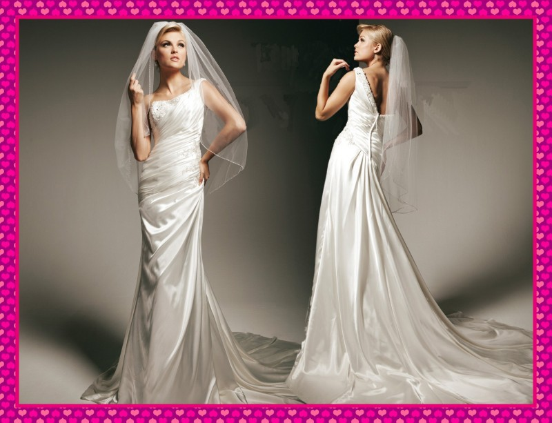 2013 New Design Cheap Sheath One Shoulder Beaded Appliques Chapel Train Summer Simple Wedding Dresses Free Shipping