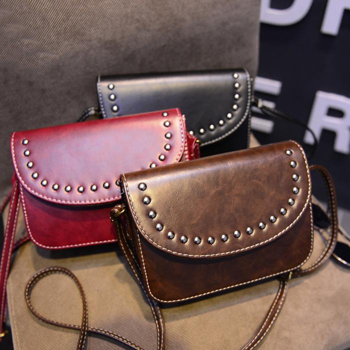 Bag retro 2015 small bags vintage rivet bag shoulder messenger handbag women's - Fashion Online Global store