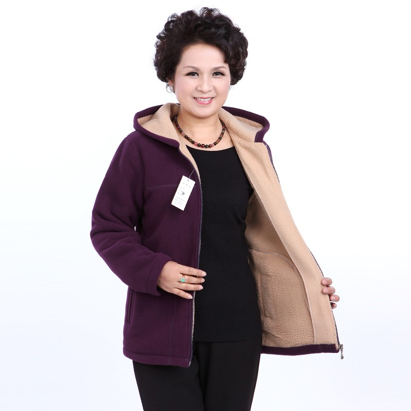 Winter Middle Aged Womens Hooded Imitation Lambs Fleece Jackets Ladies Warm Soft Velevt Coats Mother Overcoats Plus Size (25)