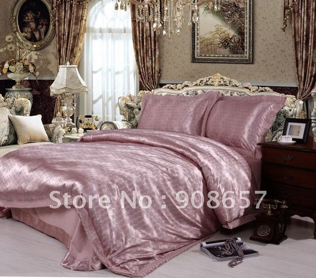 grey plum modern style bed sheet luxurious sateen cotton jacquard lace border quilt/duvet cover set 4pc for full/queen comforter