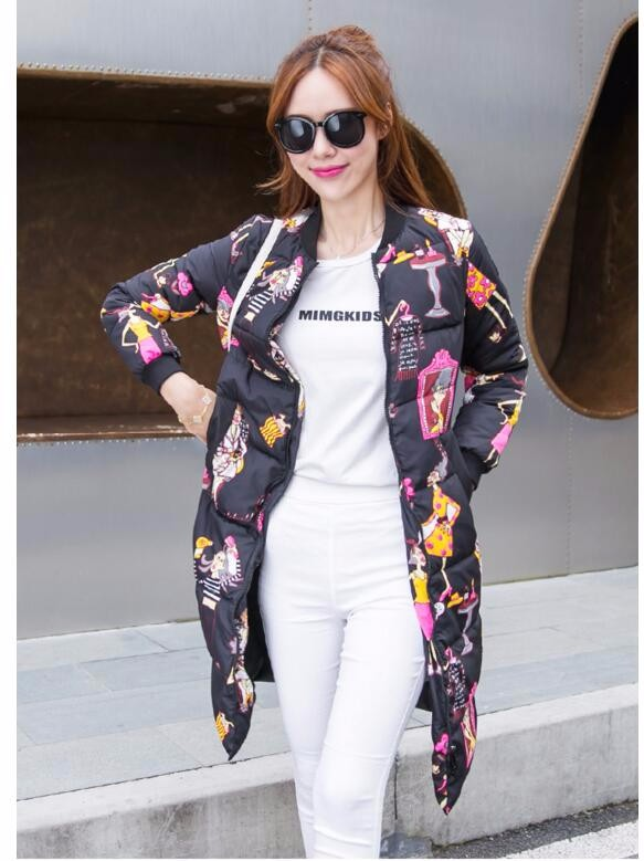 winter jacket women 2016 new winter cartoon printed Down jacket coat female long section of straight collar female jacket