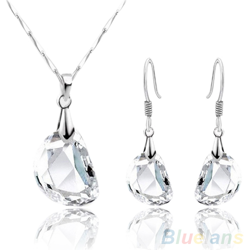 Fashion Women's Crystal Pea Shaped White Gold Plated Necklace Earrings Jewelry Set 1SQM(China (Mainland))