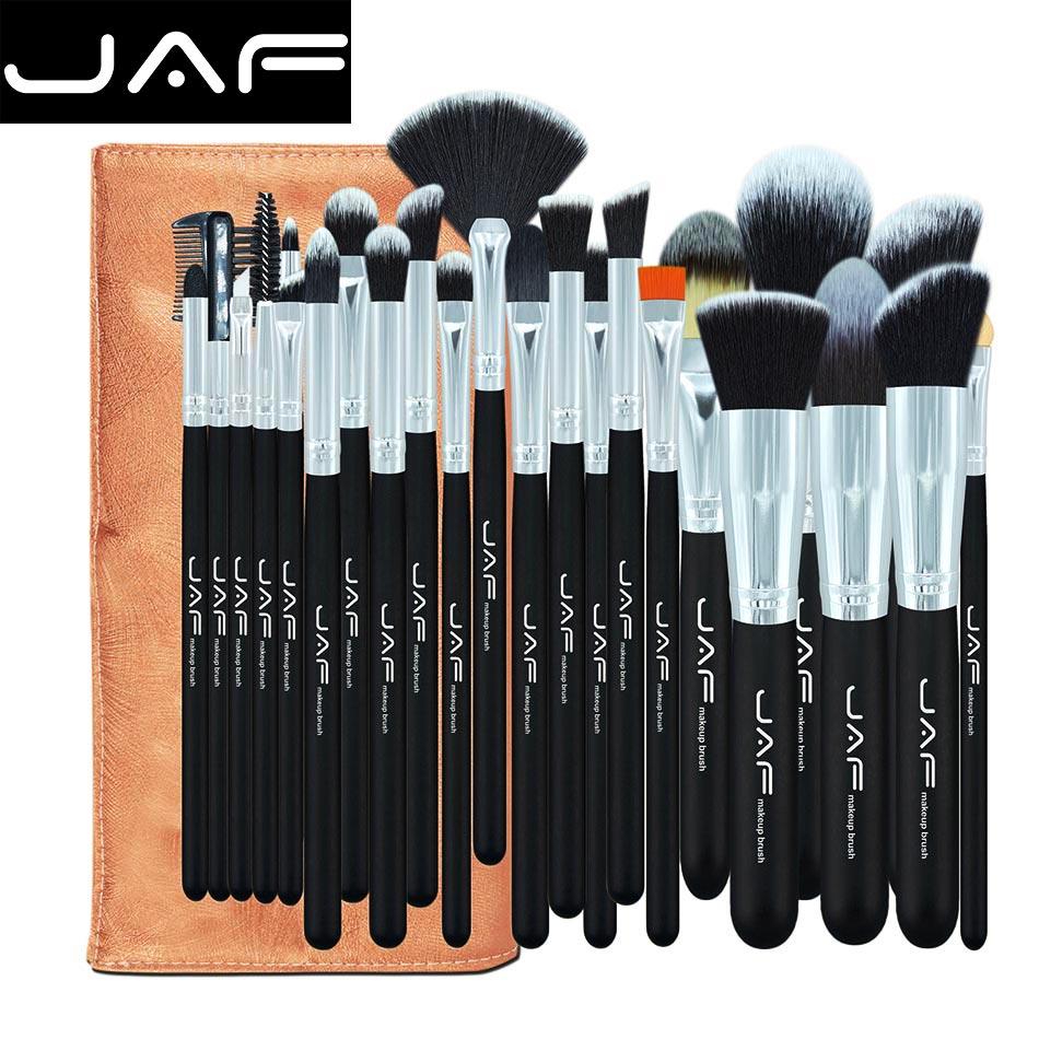 24 pcs kabuki makeup brush set&kit Professional Make up brush With bag Leather Pouch makeup organizer holder brush(China (Mainland))