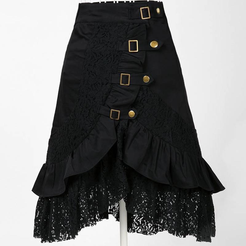 Plus Size S 2XL Punk Rock Gothic Skirts Women's Lace ...