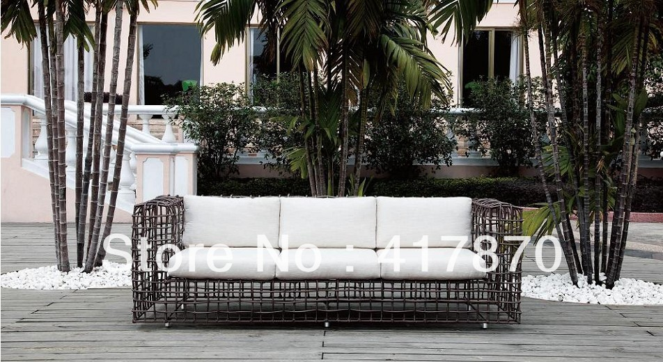 Hot Sale Outdoor Rattan Sofa Couch with Ottoman Rattan