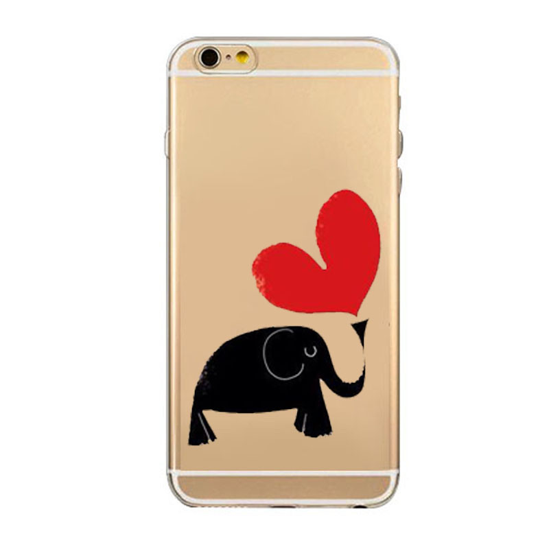 2016 Lastest Gift Coque For iphone 5 5c 5s 6S 7 7Plus Transparent Cute Animals TPU Fundas Para Back Covers Bags Silicone