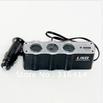 Cigarette lighter, dragged three USB ,car cigarette lighter, car charger with USB converter distribution