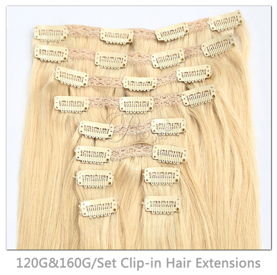 Clip In Human Hair Extensions Straight 20inch 100/120G/160G Per Pack With Best Quality #613 Remy Hair Shipping Free