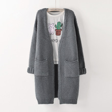 Women Sweater Long Cardigan 2016 Fashion Autumn Winter Style Long Sleeve Loose Thick Knitted Cardigan female Sweaters Long Coat(China (Mainland))
