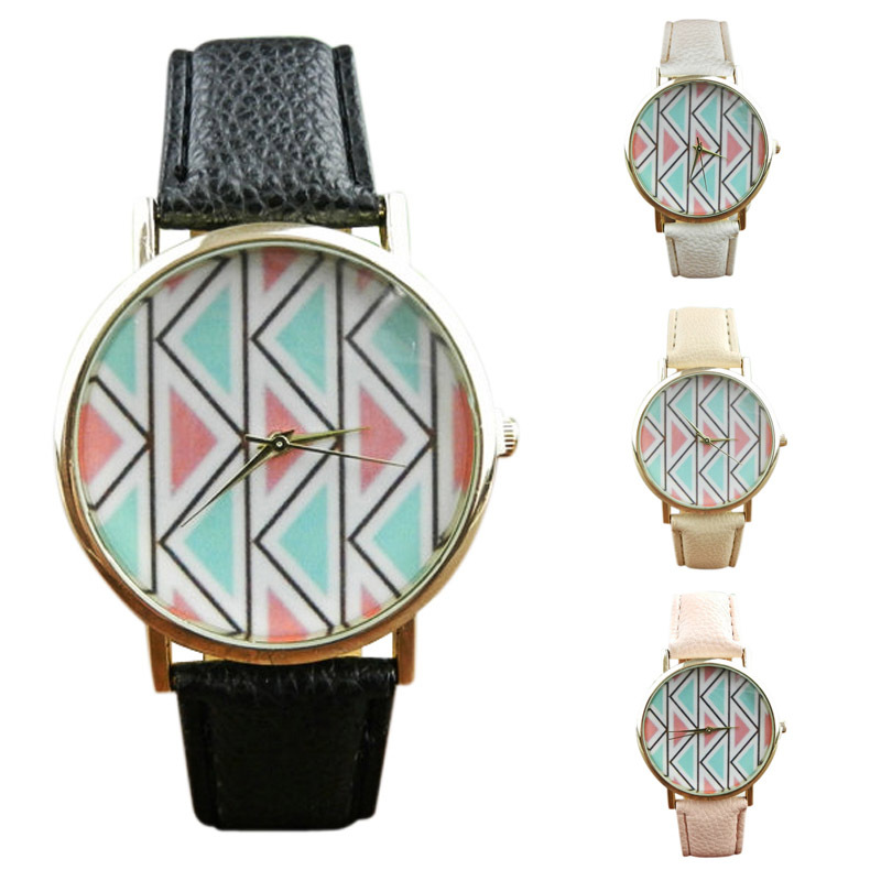 1 PC NEW Arrival Watch, Geneva Wavy Character Print Women Dress Hour Leather Band Quartz Vogue WristWatches Promotions Gift 2015(China (Mainland))