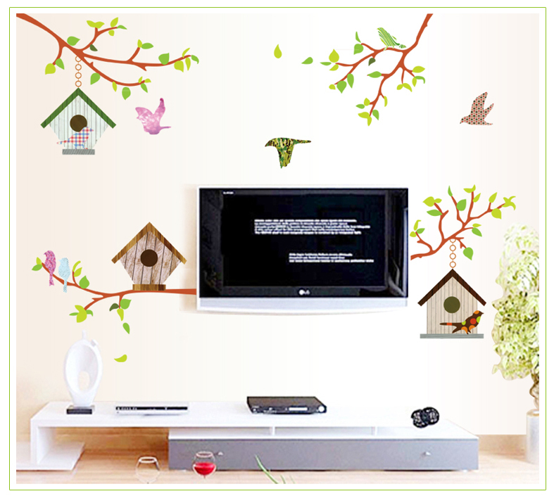 2015 new creative cute lovely Bird house bedroom TV backdrop living room Glass Decal Door stickers Wall Stickers home decor