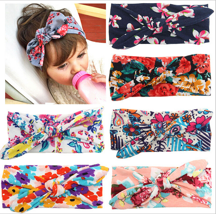 Baby Girl Headbands Infant Flower Turban Headband Cute Rabbit Ear Headband Baby Diademas Pelo Baby Hair Accessories(China (Mainland))