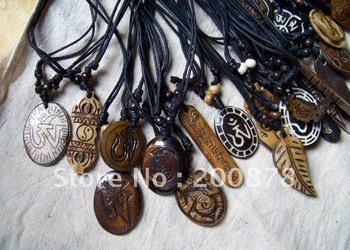 TNL345   Mix order Tibetan Yak Bone carved Totem symbols,Man`s amulets pendants necklace 10pcs lot