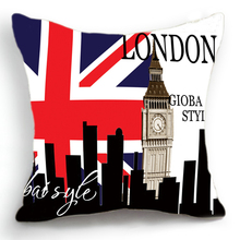 Retro Vintage London Big Ben Clock Cotton Linen Pillow Case Cushion Cover