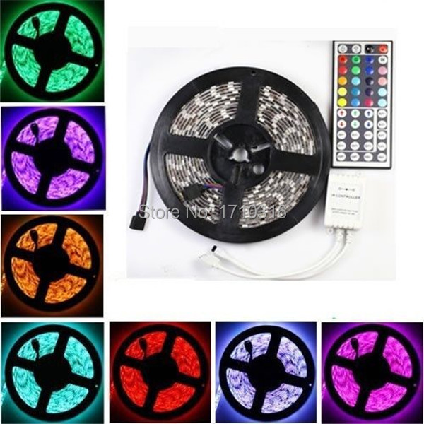 Colorful 5M 300 LED 5050 RGB SMD 60LED/m Non Waterproof Flexible Strip Light Tape DC12V with 44Keys Remote Controller(China (Mainland))