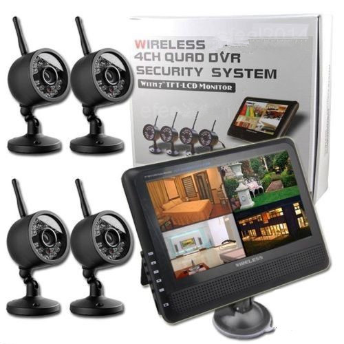 """2.4GHz Wireless 4CH Quad Home Security System 4 Digital Cameras With 7"""" TFT LCD DVR Support PAL&NTSC 300M Transfer Night Vision(China (Mainland))"""