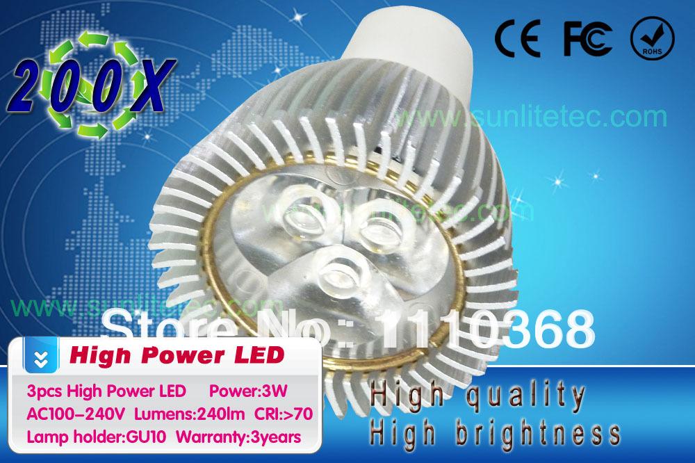 LED Spot Light Lamp Cool White Bulb Spotlight Aluminum zinc metal alloy Worldwide 3w GU10 Led Lamps Wholesale 100pcs/ Lot(China (Mainland))