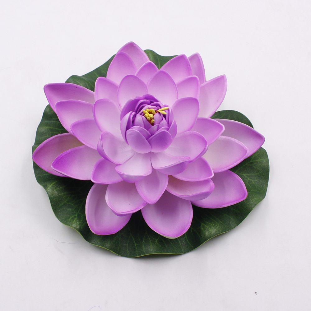 1PCS / lot 17CM Decorative Garden Artificial Fake Lotus  Water Lily Floating Pool Plant Wedding Garden Decoration