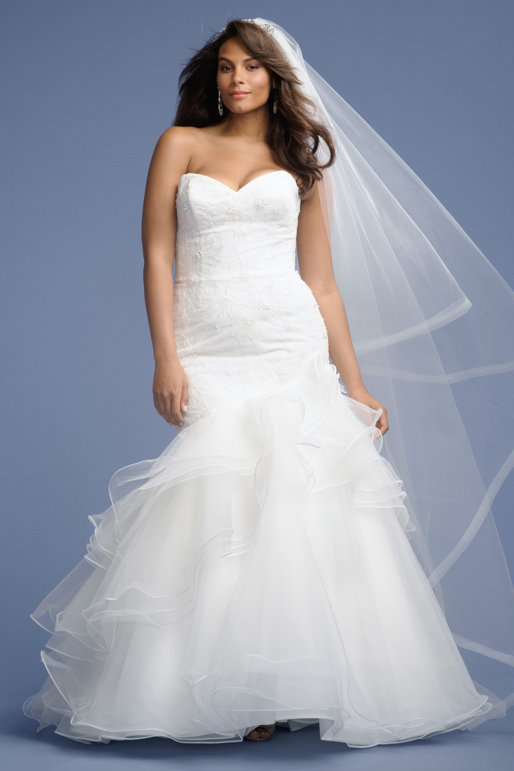 Modern Plus Size Bridal Gowns Sweetheart Lace Top Mermaid Wedding Gowns Open