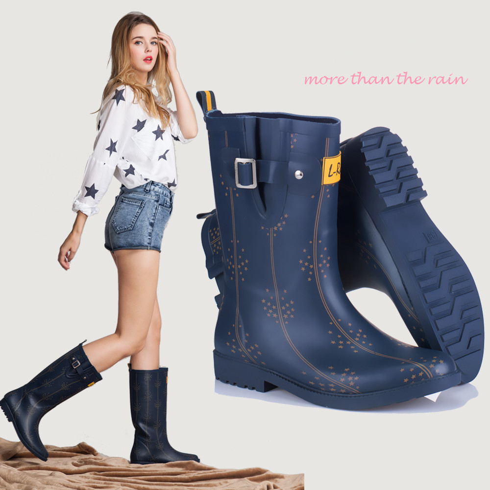 2015 Brand New Fashion Women Rubber Rain Boots Knee-high ...