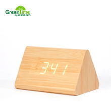 Buy Modern Desk Clock LED Alarm Clock Small Digital White wood Green Word Alarm Clock Dual Voice Electronic Calender CYP-018 for $21.24 in AliExpress store