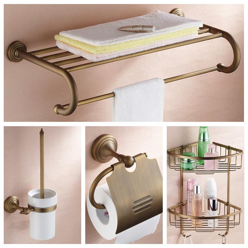 Bath Hardware Sets Nickel Brushed Brass bathroom accessories set robe hook cup brush holder towel holders soap dish paper rack(China (Mainland))