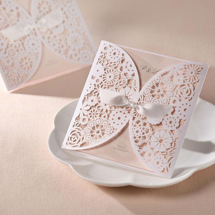 - 50Sets Laser Cut Wedding invitations Cards+50 Envelopes+50 Seals Free Printable Supplies Shop store
