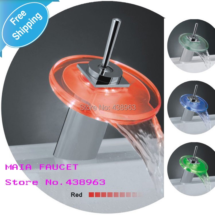LED lamp glass circular waterfall faucet fashion basin bathroom 3 colors - Maia Sanitary store