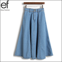New Brand Maxi Jeans Skirts 2015 Womens High Waist Vintage Denim Skirts Plus Size EF04006