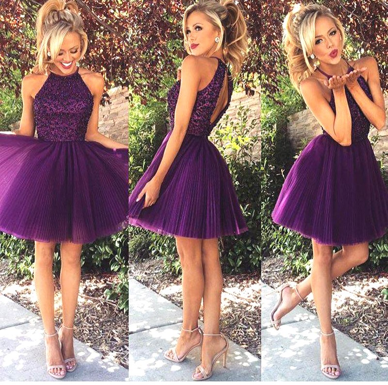 Popular Fashion Purple Mini Sisters Dress Beaded Halter Tulle Short Party Design Open Back Knee Prom Dresses - Esaer Wedding Store store