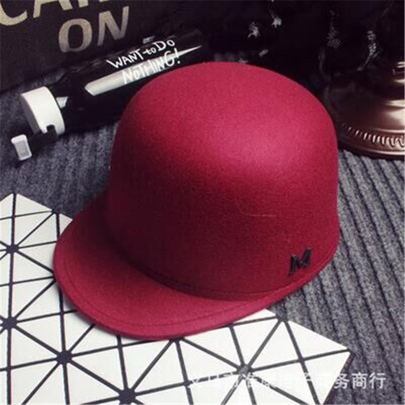 2016 winter new Europe M letter equestrian cap woolen hat female British retro baseball cap snapback hat Benn Knight(China (Mainland))