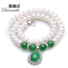 Dainashi навсегда классический зеленый агат с 8-9 мм/9-10 мм природный жемчуг ожерелье высокого качества жемчужные украшения для женщин(China (Mainland))