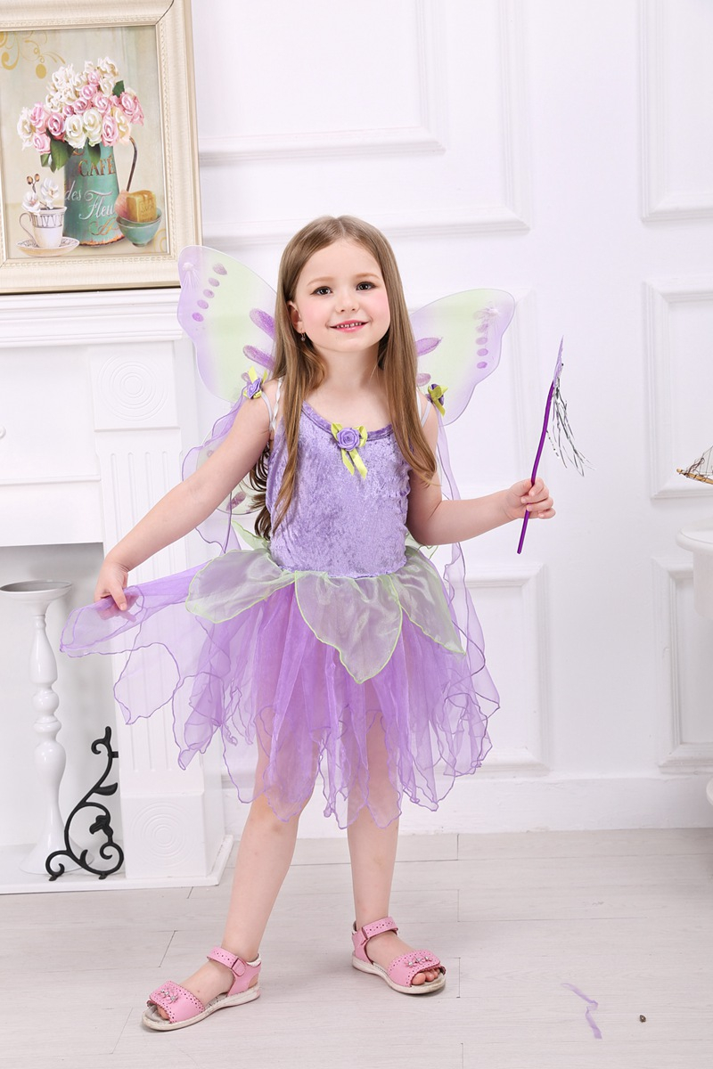 New Design Princess Party Dress for Girl Halloween Costumes Summer Sleeveless Tulip Style Purple Fairy Dress with Wiings(China (Mainland))